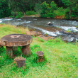 Picnic wood table next to river — Stock Photo