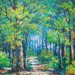 Stock Photo: Oil painting picture on canvas of a walkway in forest drawing