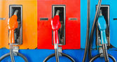 Colorful fuel oil gasoline dispenser — Photo
