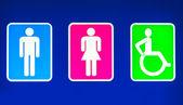 Banheiros sinal com sinal masculino do feminino e deficientes — Foto Stock