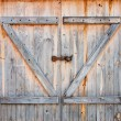 Detail of wooden barn door — Stok fotoğraf