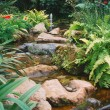 Tropical garden waterfall — Stock Photo
