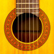 Close-up of sound hole of classic guitar — Stock Photo