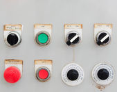 Old industrial switching button control panel — Stock Photo