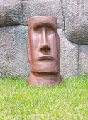 Face of moai stone rock sculpture — Stock Photo