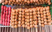 Thai street food grilled meatballs — Stock Photo