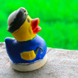Handmade happy duck plaster clay doll — Stock Photo