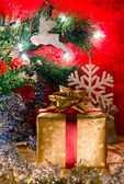 Christmas presents box and ornaments decoration — Stok fotoğraf