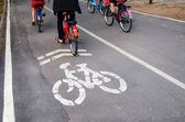 Cyclist on bicycle in bike lane — Stock Photo