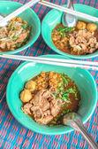 Pork meatballs noodles — Stock Photo