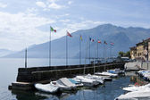The port of Domaso, a city on the lake of como — 图库照片