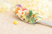 Fresh food on a fork — Stock Photo