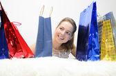 En flicka på shopping — Stockfoto