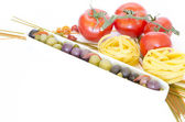 Composition of Pasta and Tomatos — Stock Photo