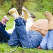 Friends Relaxing in the forest — Stock Photo