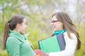 Two Classmates talking in the forest — Stock Photo