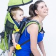 Baby in Backpack — Stock Photo