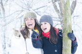 Playing in Snow — Stock Photo