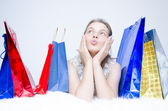 One girl at shopping — Stock Photo
