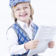 Cute Boy reding newspaper — Stock Photo