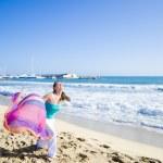 Girl Running on Beach — Stock Photo