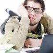 Overwhelmed businessman — Stock Photo