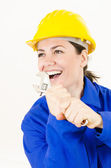 Woman holding Adjustable Wrench — Stock Photo