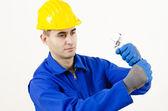 Man holding Adjustable Wrench — Stock Photo