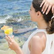 Cocktail on Beach — Stock Photo