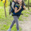 Baby in Backpack — Stockfoto
