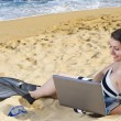 Using Laptop on Beach — Stock Photo
