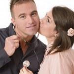 Pretty woman kissing — Stock Photo #37092833