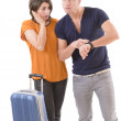 Young couple in a hurry — Stock Photo