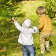 Children in Autumn Forest — Stock Photo