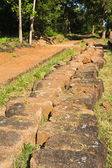 The laterite are excavated prepare for restoration of ruins sanctuary — Stock Photo