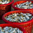 Raw material fish in baskets — Stock Photo