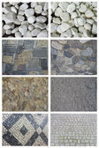 Set of pebble used for covering floors, paths, walkways. — Stock Photo