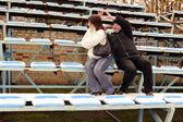 Hombre y mujer en el estadio — Foto de Stock