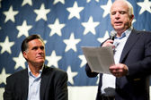 Mitt Romney and Senator John McCain appear at a town hall meetin — Stok fotoğraf