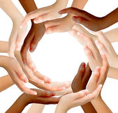 Conceptual symbol of multiracial human hands making a circle on — Foto de Stock
