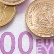 500 euros and gold rubles - Stock Photo