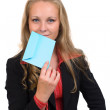 Young business woman with a blue envelope — Stock Photo #12197496