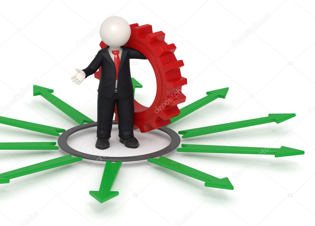 3d rendered business man in black suit standing with a red gear in his hand surrounded by green arrows representing the way for solutions concept — Stock Photo #12738015