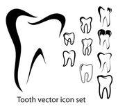 Tand vector ikonuppsättning — Stockvektor