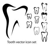 Tooth vector icon set — Vector de stock