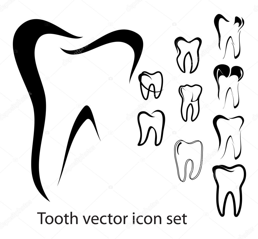 Set of 10 different tooth vector illustrations isolated — Stock Vector #12740898