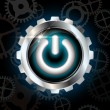 Blue power on metallic vector button with gears — Image vectorielle