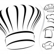 Chef hat silhouettes - vector icon set - Stock Vector