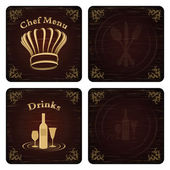 Golden Chef and drink menu cover vector set — Stock Vector