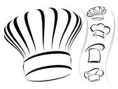 Silhuetas de chapéu de chef - icon set vector — Vetor de Stock